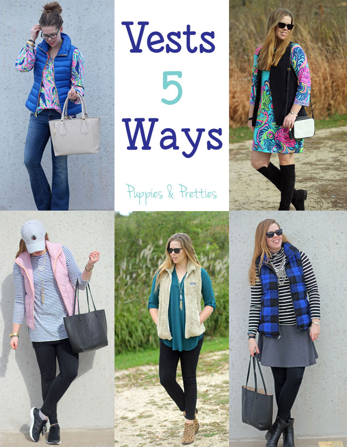 5 ways to wear vests | vest with jeans | vest with dress | vest with leggings and tunic for sporty look | dressy look with a vest with tunic and skinny jeans | vest with skirt | Puppies & Pretties
