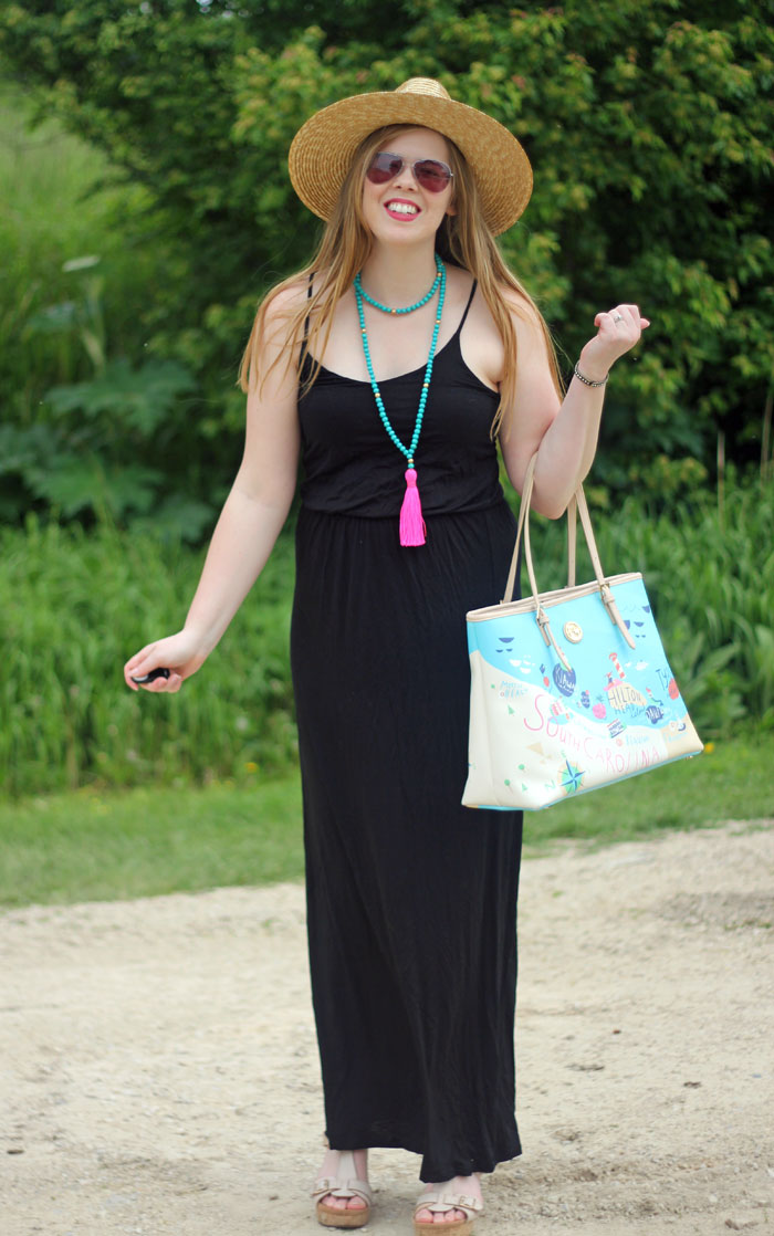 Black Maxi Dress: Lush black maxi dress, Courtney Perk tassel necklace in turquoise and pink, Spartina 449 tote, Hat Attack Lemon Stripes hat | Puppies & Pretties