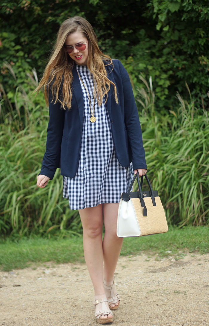 Gingham and a Blazer: SheIn gingham dress, navy blazer from Old Navy, Kate Spade straw satchel, Julie Vos coin pendant | Puppies & Pretties