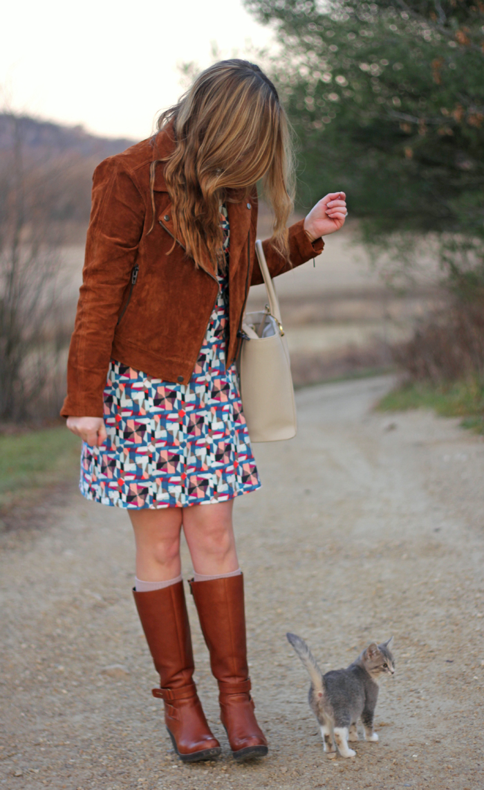 BLANKNYC Suede Jacket: Athleta dress, suede jacket in Spice, Dagne Dover tote, Clarks boots, Loren Hope necklace   Puppies & Pretties