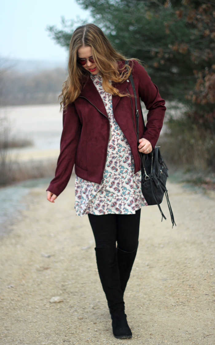 Maroon Moto Jacket: a perfect look for fall with a moto jacket from Old Navy with a floral dress and black OTK boots   Puppies & Pretties