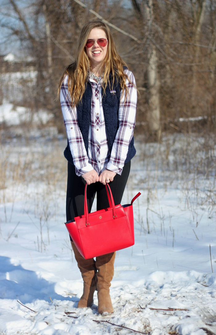 Red, Plaid and Navy: Thread & Supply plaid shirt, navy Patagonia Los Gatos vest, Athleta leggings, UGG Ava boots, red Tory Burch small Parker tote, Loren Hope bow necklace | Puppies & Pretties