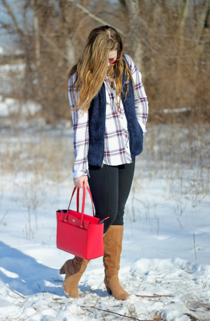 Red, Plaid and Navy: Thread & Supply plaid shirt, navy Patagonia Los Gatos vest, Athleta leggings, UGG Ava boots, red Tory Burch small Parker tote, Loren Hope bow necklace   Puppies & Pretties